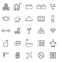 Hotel line icons on white background vector