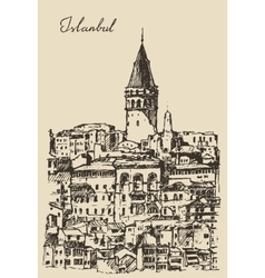 Istanbul Turkey City Architecture Galata Tower vector image vector image
