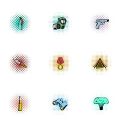 Military defense icons set pop-art style vector