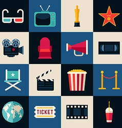 Movie Concept Set of Flat Style Icons 3D glasses vector image