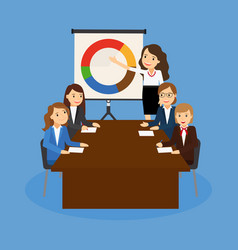 office teamwork board chart graphic documents vector image vector image