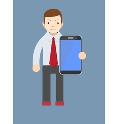 Office worker showing a blank smart phone screen vector