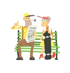 Old couple with skateboard vector