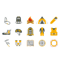 rafting and tourism icons collection vector image vector image