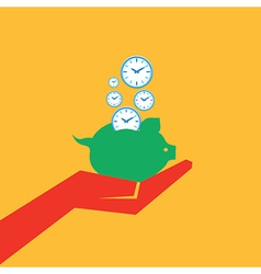 Save time concept with piggy bank stock vector image vector image