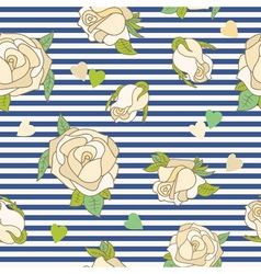 seamless pattern with roses on a striped vector image vector image