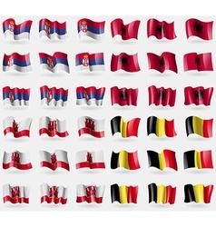 Serbia albania gibraltar belgium set of 36 flags vector