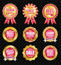 Set of excellent quality crimson badges vector