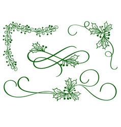 set of green christmas calligraphy flourish art vector image vector image
