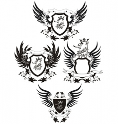 set of grunge shields vector image