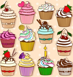 Set of isolated icons of cupcakes vector image