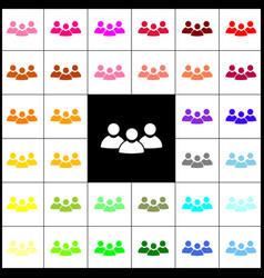 Team work sign felt-pen 33 colorful icons vector