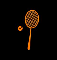 Tennis racquet sign orange icon on black vector
