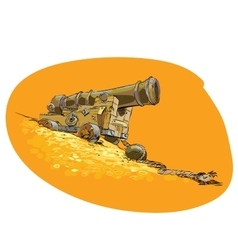The cannon on the pirate ship vector image