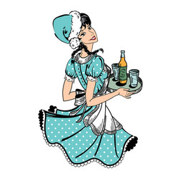 Waitress in blue dotted dress in retro style with vector