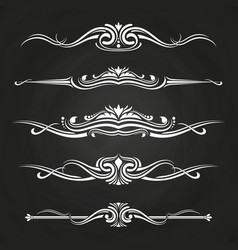 white flourish borders set on chalkboard vector image