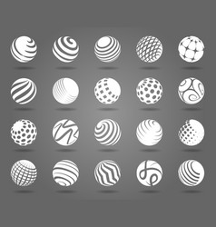 White spheres with shadows set vector