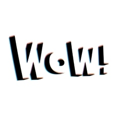 Wow lettering with retro stereo effect vector