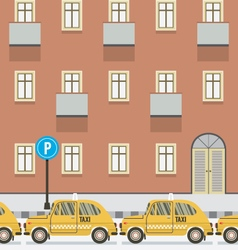 Yellow Taxi Parked Beside Pedestrian vector image vector image
