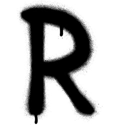Sprayed r font graffiti with leak in black vector