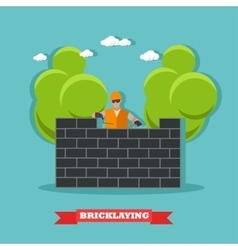 People build bricks wall construction site vector