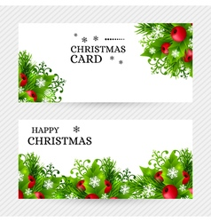 Christmas background with fir and holly vector