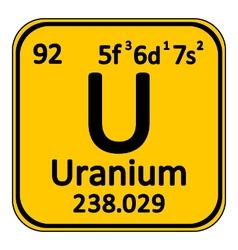 Periodic table element uranium icon vector image