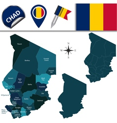 Chad map with named divisions vector