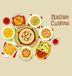 Italian cuisine icon with pasta and lasagna vector
