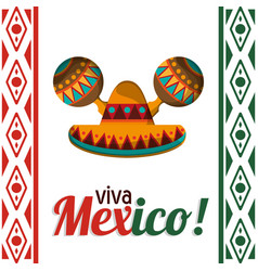 viva mexico celebration heritage card vector image
