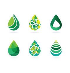 Set of abstract green water drops symbol water dr vector