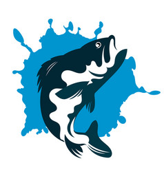 Fish and water silhouette vector