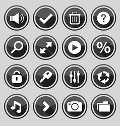 Web design round black buttons set 2 vector