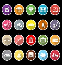 Insurance related flat icons with long shadow vector