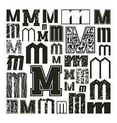 Set versions of letters m vector