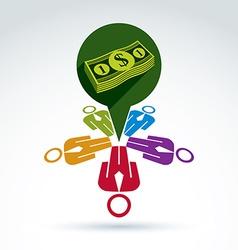 Business team earning money icon conceptual vector