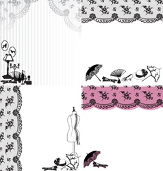 Four backgrounds with vintage accessories vector