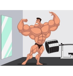 Caricature bodybuilder vector