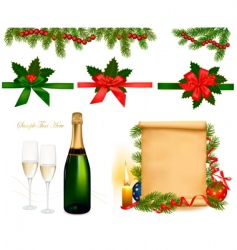 Set with champagne with glasses vector