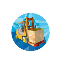 Forklift truck materials box circle low polygon vector