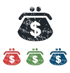Dollar purse grunge icon set vector