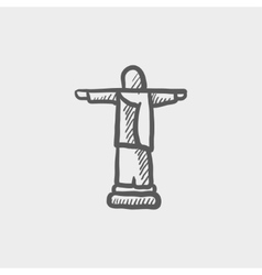 Christ the redeemer sketch icon vector