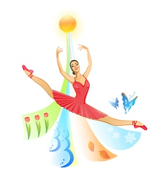 Jumping ballet dancer vector