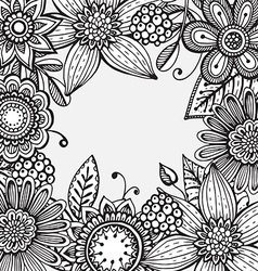 Frame with hand drawn doodle fancy flowers vector