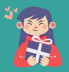 Cute girl holding a present vector