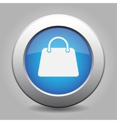 Blue metal button with handbag vector