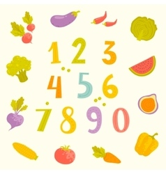fruits and vegetables numerals for kids vector image