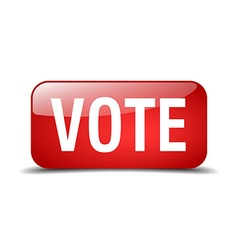Vote red square 3d realistic isolated web button vector