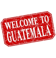 Welcome to guatemala red square grunge stamp vector