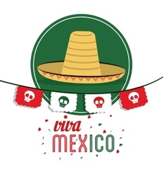 Hat icon mexico culture graphic vector
